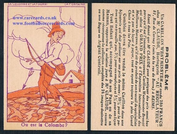 1900s French puzzle trade card la colombe Fontaine